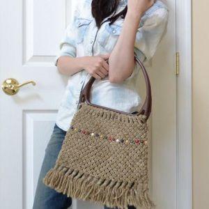 Vintage Knit Fringe Bag